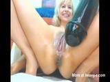 Giant Dildo Makes Her Squirt - Dildo Videos