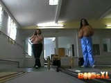 Big Mature Woman Erika And Sabrina Like To Let Their Tits Hang Out While Bowling