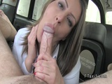 Busty clothed brunette bangs in cab