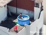 Couple Fucking On Rooftop In Pool - Public Videos