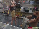 Busty brunette Babe gets big cash for sex inside of the pawn shop office