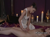 Masseuse stretching hairy brunette