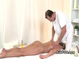 Blonde babe wanks cock to masseur
