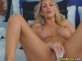 Sizzling Hot Busty Babe Sucks And Rides A Dildo