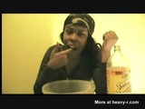 Ebony Girl Puking In Bowl - Vomit Videos