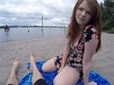 Sexy Redhead Girl Fucks A Stranger On The Beach