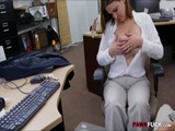 Big tits business woman pawns her pussy