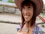 Cowgirl Tina Hot fucked outside for cash