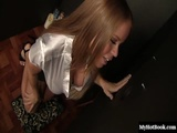 Sexy blonde with big boobs and a pierced nipple, Nikki Delano, sucks off