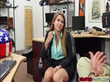 Desperate blonde babe Ivy Rose fucks pawnman for cash