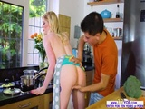 Gorgeous blonde babe Carly Rae fucked in the kitchen 2
