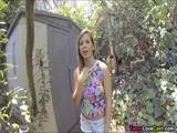 Busty Keisha Grey gives outdoor blowjob