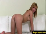 European casting beauty plays with her pussy