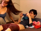 Hot Stepsister gives amazing blowjob to young brother