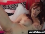 Dirty Talking Red Head Lauren Phillips Dildo Pounds Her Cunt