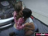 Hairy chicks lick each other in the garage