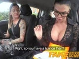 Fake Driving School Sexy strap on fun for new big tits driver