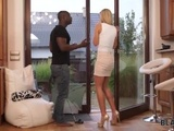 BLACK4K. Blonde girl was freezing outsideand guy warmed her up