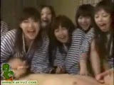 Group of naughty asian teens pillow fighting and dick sucking