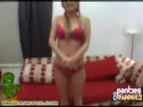 Cute blonde Denice stipping out of her panties