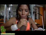Black chick getting pounded by a monster cock in the gym